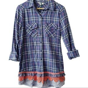 Upcycled shabby chic flannel shirt size small